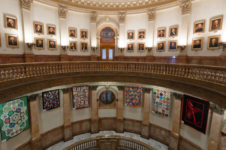 Capitol quilt show 2011. A view of the interior of the Colorado State Capitol in Denver. Designed by Elijah E. Myers, construction on the Classical Revival structure started in 1886 and lasted for 15 years, though many offices were occupied by 1894. The C