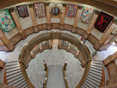 lasted: Capitol quilt show 2011. A view of the interior of the Colorado State Capitol in Denver. Designed by Elijah E. Myers, construction on the Classical Revival structure started in 1886 and lasted for 15 years, though many offices were occupied by 1894. The C