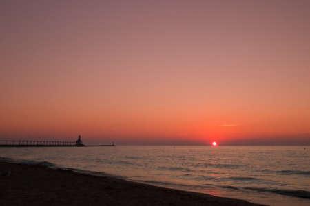 Sunset at Michigan City Lighthouse, Michigan City Indiana. photo