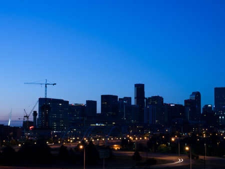 mile high city: A view of Denver, Colorado downtown right before sunrise.