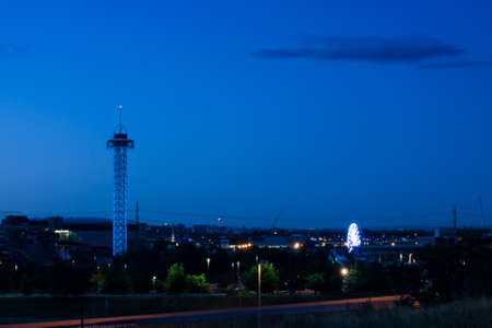 A view of Denver, Colorado downtown right before sunrise.