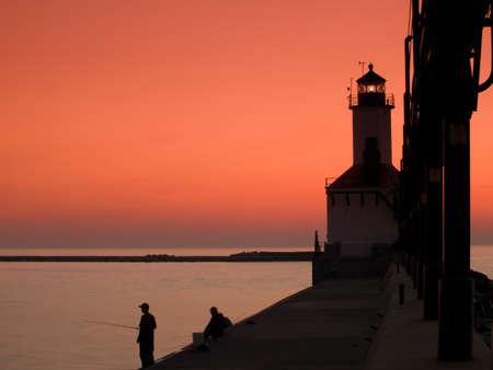 Sunset at Michigan City Lighthouse, Michigan City Indiana. Stock Photo - 10007983