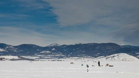 Ice fishing on Lake Granby, Colorado.