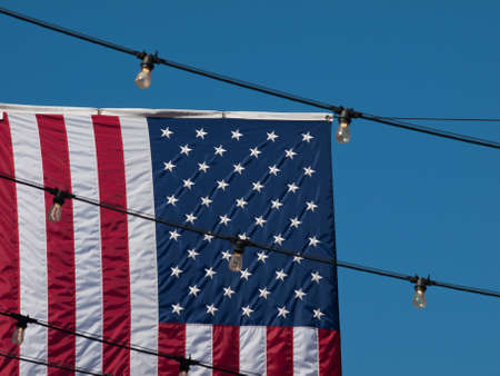 Larimer Square in Denver, Colorado with american flags. photo