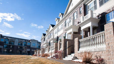 townhomes: A row of townhomes in Denver, Colorado.