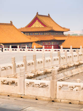 Facade and roofs details, Forbidden City in Beijing. Imperial palace in China.