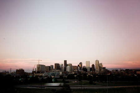 denver skyline: A view of Denver, Colorado downtown right before sunset Stock Photo