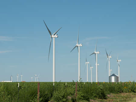 Wind turbines farm in Eastern Colorado. photo