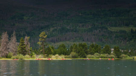 lake dillon: Kayaking on mountain lake in the Rocky Mountains. Lake Dillon, Colorado. Stock Photo