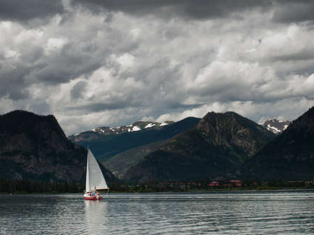 colorado landscape: Sailing on mountain lake in the Rocky Mountains. Lake Dillon, Colorado