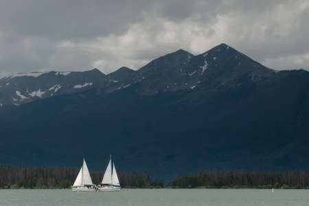 lake dillon: Sailing on mountain lake in the Rocky Mountains. Lake Dillon, Colorado
