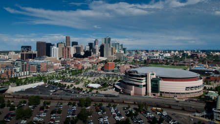 Aerial view of Denver from observation tower at the Elitch Gardens Theme Park.