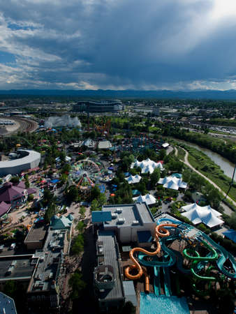 denver buildings: Aerial view of Denver from observation tower at the Elitch Gardens Theme Park.