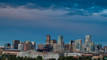 mile high city: A view of Denver, Colorado downtown right before sunset Editorial