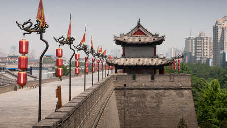 Xian ancient city wall with pagodas. Editorial