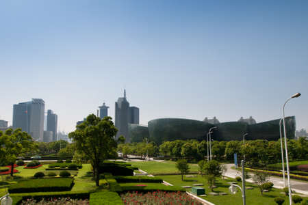 high rise buildings: Urban park in Shanghai, China. Editorial