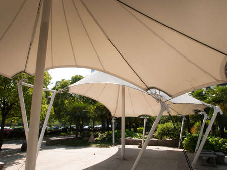 Contemporary shade structure in Shanghai, China.