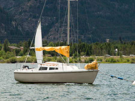 lake dillon: Sailboat on the Lake Dillon, Colorado. Editorial