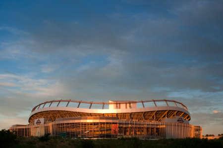 Sunrise over Invesco Field in Denver, Colorado.