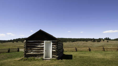Old homestead buildings on Florissant National Monument in central Colorado. Stock Photo - 10186596
