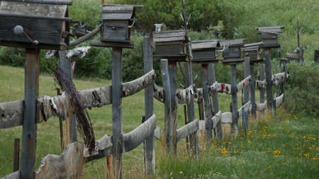 eleven mile reservoir: Birdhouses on the wood fence at estate near Eleven Mile Reservoir, Colorado. Editorial