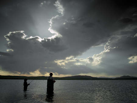 eleven mile reservoir: Father and son fishing at Eleven Mile Reservoir, Colorado.