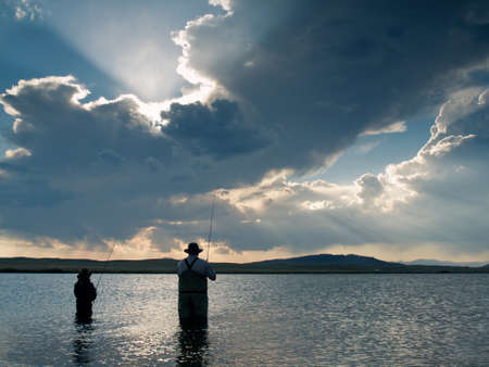 mile: Father and son fishing at Eleven Mile Reservoir, Colorado.