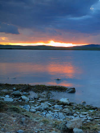 mile: Sunset on the  Eleven Mile Reservoir, Colorado.