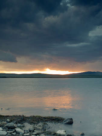 Sunset on the  Eleven Mile Reservoir, Colorado.