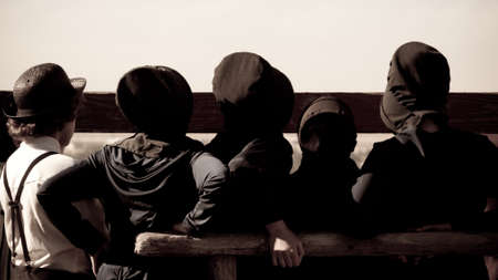 Amish children on the farm. photo