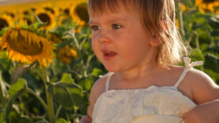 Little girl playing in sunflower field. Stock Photo - 10377942
