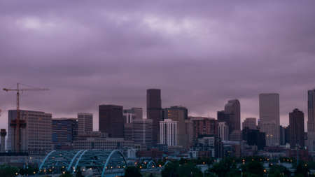 denver at sunrise: A view of Denver, Colorado downtown right before sunrise.