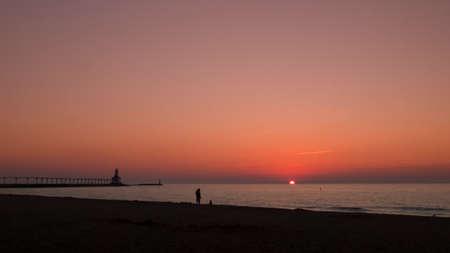 Sunset at Michigan City Lighthouse, Michigan City Indiana. Stock Photo - 10368795