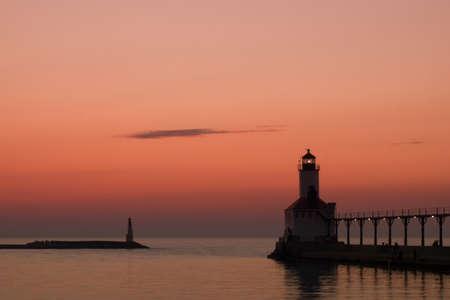 Sunset at Michigan City Lighthouse, Michigan City Indiana.