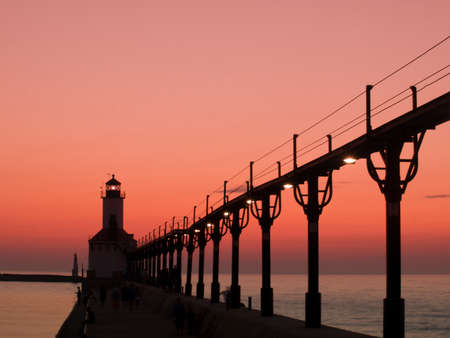 lake michigan: Sunset at Michigan City Lighthouse, Michigan City Indiana.
