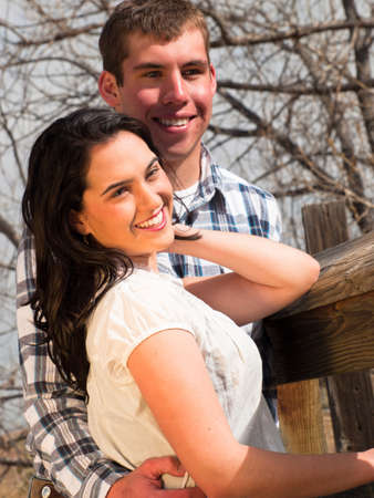 country side: Happy couple in country side.