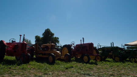 Old farm equipment on the display at the Yesteryear Farm Show in Longmont, Colorado.