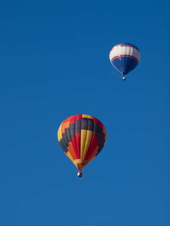 Hot air balloons in a field during a festival in Loveland, Colorado. photo
