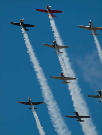 aeronautics: Vintage airplane flying in formation at the Rocky Mountain Airshow in Broomfield, Colorado.