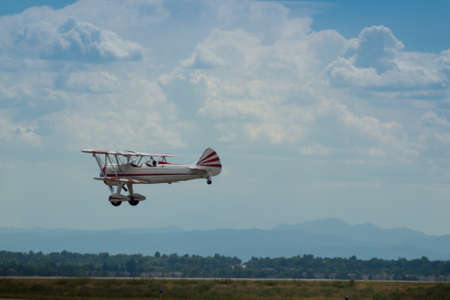 Vintage 1942 PT-17 Stearman at the Rocky Mountain Airshow in Broomfield, Colorado.