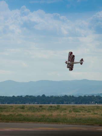 aeronautics: Vintage 1942 PT-17 Stearman at the Rocky Mountain Airshow in Broomfield, Colorado.