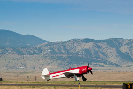 Vintage airplane at the Rocky Mountain Airshow in Broomfield, Colorado. Editoriali