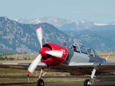 Vintage airplane at the Rocky Mountain Airshow in Broomfield, Colorado.