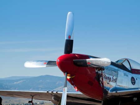 aeronautics: Michael Bertz North American P-51D Mustang sn 45-11636, Stang Evil, N11636, Rocky Mountain Metropolitan Airport, Broomfield, Colorado. Editorial