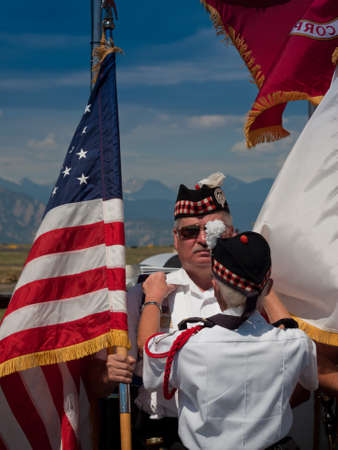 Opening parade with veterans at the Rocky Mountain Airshow in Broomfield, Colorado. Stok Fotoğraf - 10604986