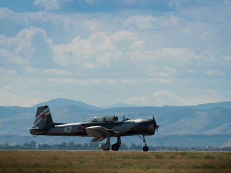 aeronautics: Vintage airplane at the Rocky Mountain Airshow in Broomfield, Colorado. Editorial