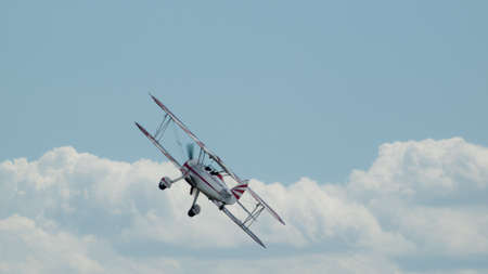 old glory: Vintage 1942 PT-17 Stearman at the Rocky Mountain Airshow in Broomfield, Colorado.