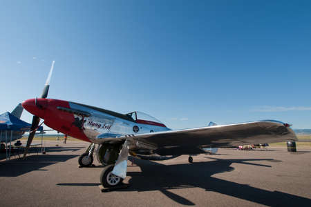 broomfield: Michael Bertz North American P-51D Mustang sn 45-11636, Stang Evil, N11636, Rocky Mountain Metropolitan Airport, Broomfield, Colorado. Editorial