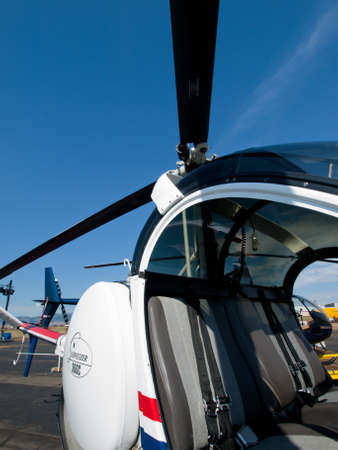 Two seater helicopter at the Rocky Mountain Airshow in Broomfield, Colorado. Editorial