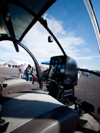 aeronautics: Two seater helicopter at the Rocky Mountain Airshow in Broomfield, Colorado. Editorial